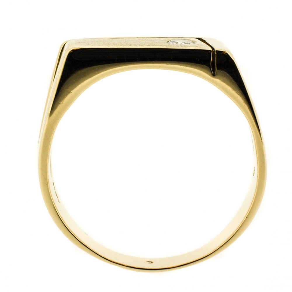 18K Gold And Diamond Mens Ring