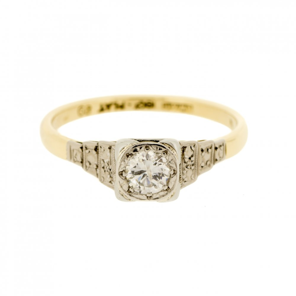 18k gold platinum deco solitaire ring