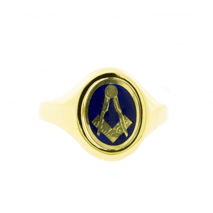 1988 London, Masonic Swivel Enamelled & engraved Ring