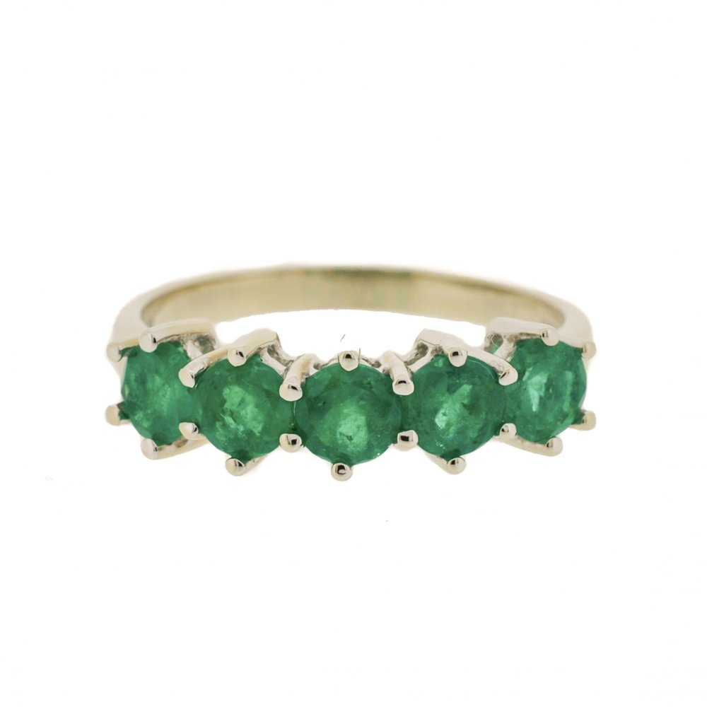 5 Stone Emerald Ring in White Gold - from Lila's Jewels UK