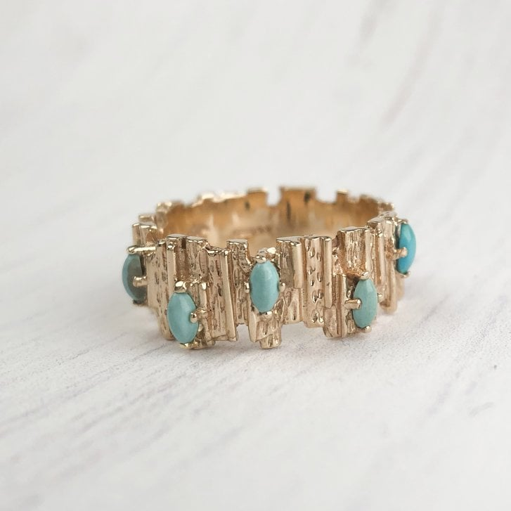 60s Modernist Gold and Turquoise Ring