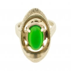 60s Oval Chrysoprase Ring
