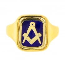 70s Rectangular Masonic Ring with Blue Enamel