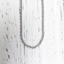 9ct Adjustable 18 Inch Fine Trace Chain in White Gold