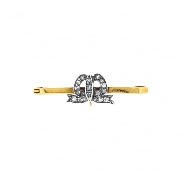 9ct Gold and Silver Diamond Bow Brooch