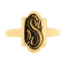 "9ct Gold Oblong Signet Ring with Initial ""S"""