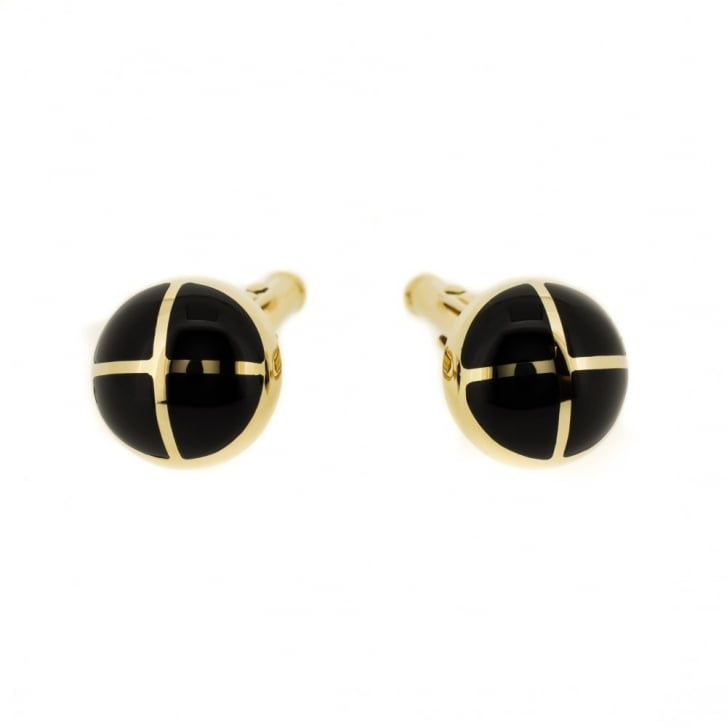 9ct Gold Onyx Cross-Shaped Cufflinks