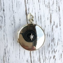 9ct Round Locket with Diamond Star Middle