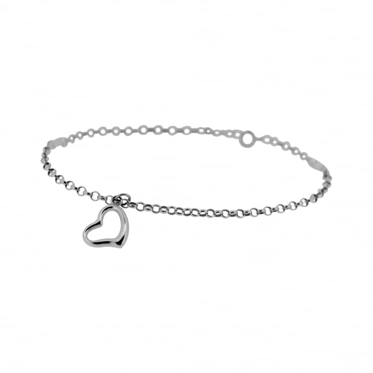 9ct White Gold Open Heart Charm on Belcher Chain Style Bracelet