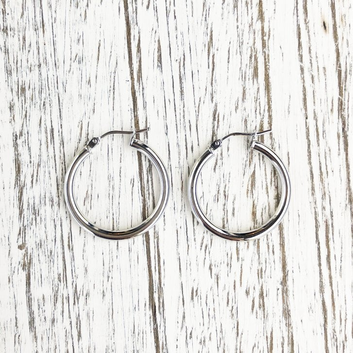 9ct White Gold Round Hoops