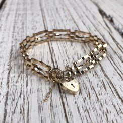9ct yellow gold gate Bracelet with Heart Clasp