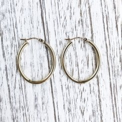 9ct Yellow Gold Oval Hoops