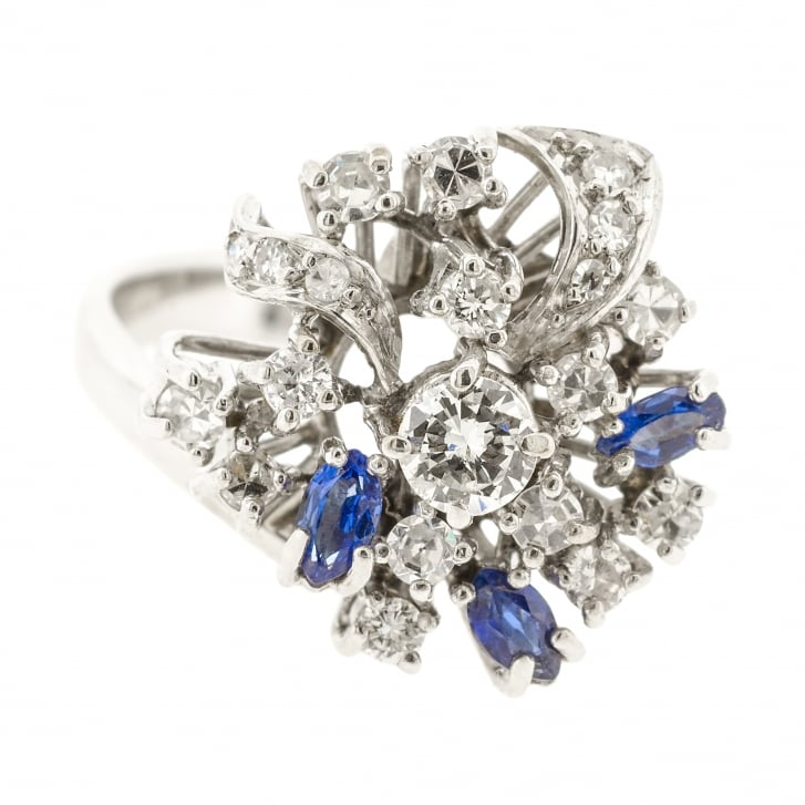 Amazing 50s Spray Ring with Sapphire and Diamonds