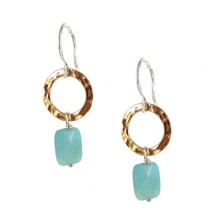 Karen Morrison Amazonite Bead and Golden Circle Earrings