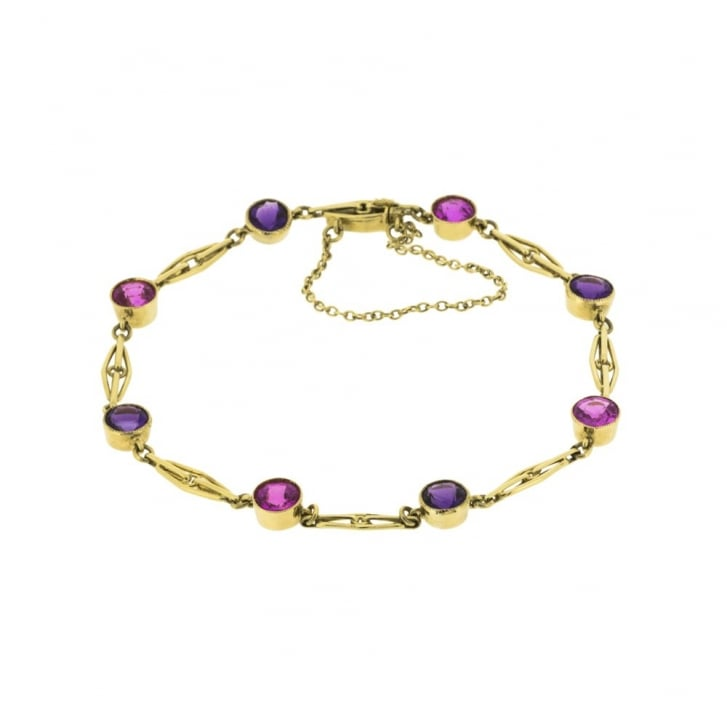 Amethyst and Pink Synthetic Sapphire Bracelet