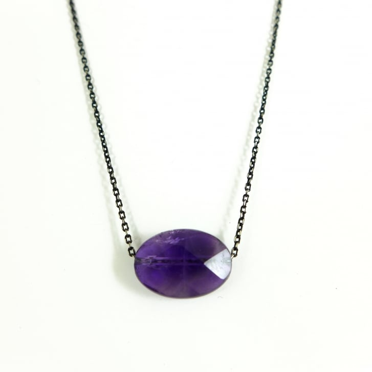 Karen Morrison Amethyst Bead and Oxidised Silver chain Necklace