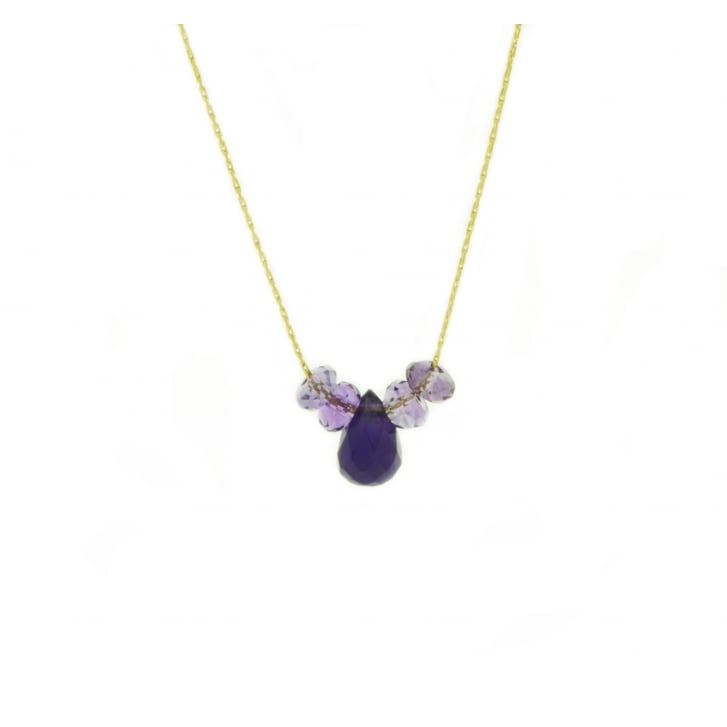 Karen Morrison Amethyst Faceted Drops on Gold Filled Chain Necklace