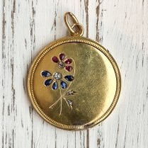Antique Russian Secret Locket with Rubies, Sapphire and Rose Cut Diamonds