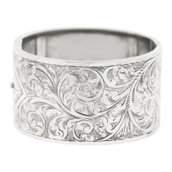 Antique Silver Bangle With Hand Engraving