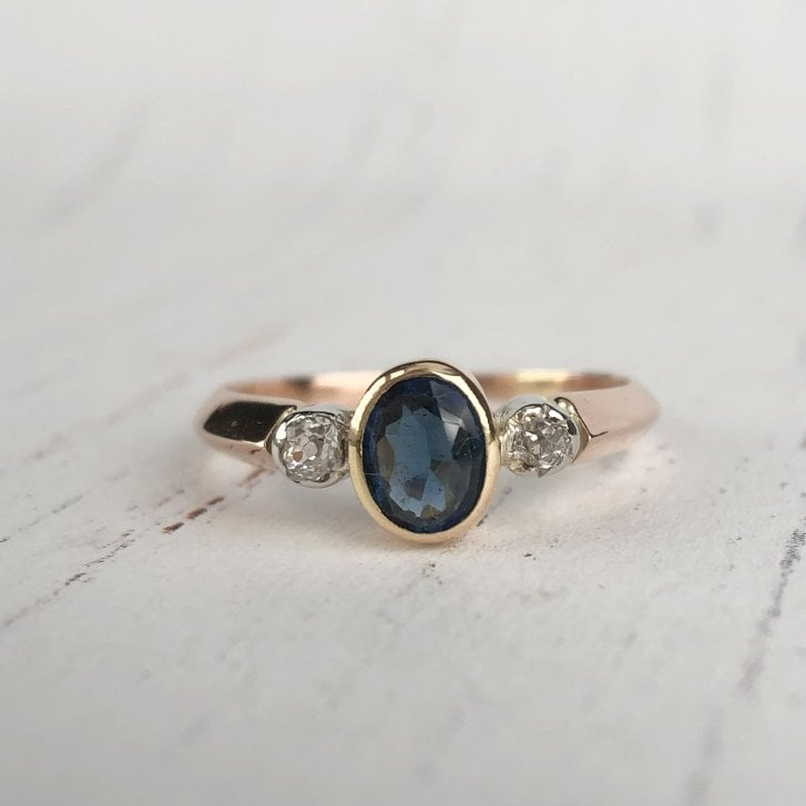 Antique Trilogy Ring with Sapphire Imitation & Old Cut Diamonds