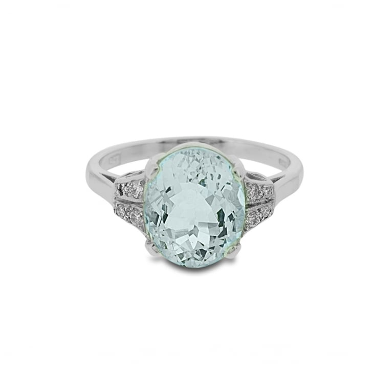 Aquamarine and Diamond Deco Ring