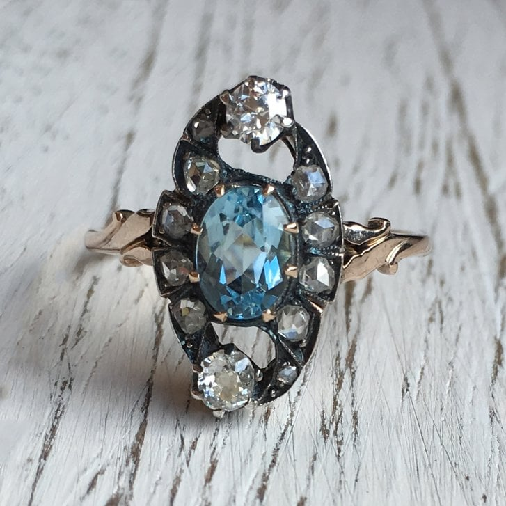 Aquamarine and Old Cut Diamonds Navette Ring