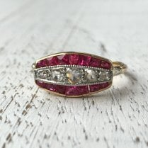 Art Deco Diamond and Synthetic Ruby Panel Ring