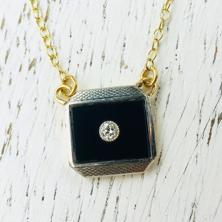 Lila's Art Deco Necklace with Onyx Tablet and Diamond