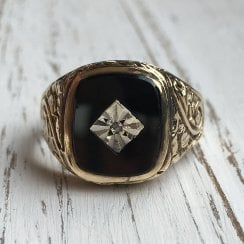 Art Deco Onyx and Diamond Unisex Signet Ring
