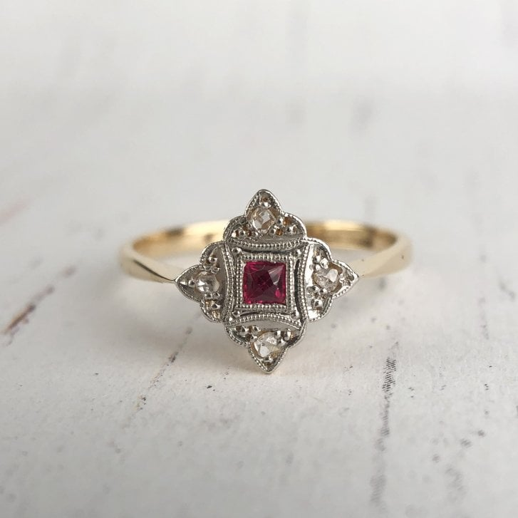 Art Deco Panel Ring with Manmade Ruby and Diamonds