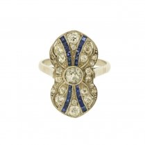 Art Deco Platinum Ring with Diamonds and Synthetic Sapphires