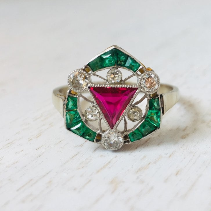 Art Deco Ring with Tringular Ruby and Emerald Halo