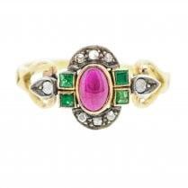 Art Deco Ruby, Emerald and Rose Cut Diamond Ring