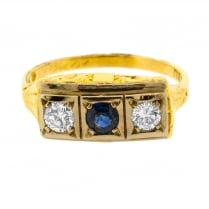 Art Deco Sapphire and Diamond Trilogy Ring