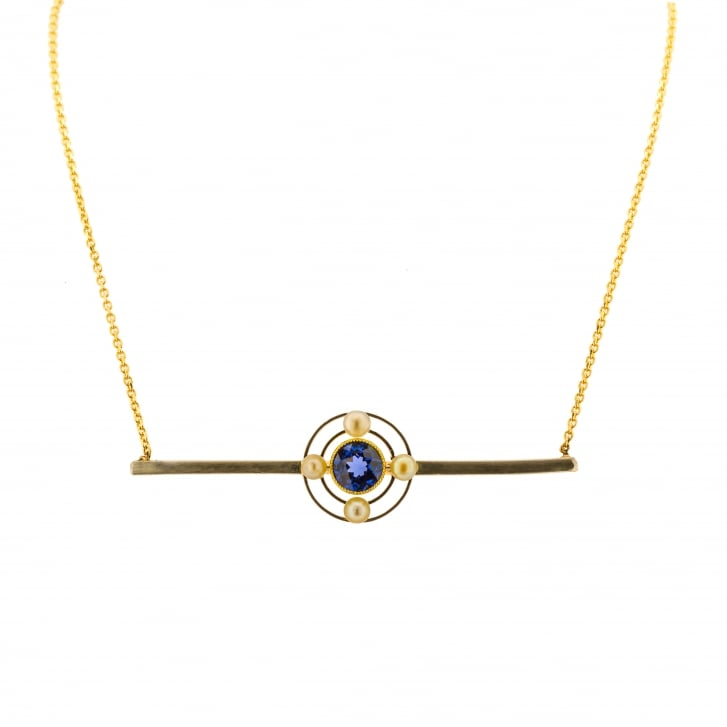 Lila's Art Deco Sapphire and Pearl Target Necklace