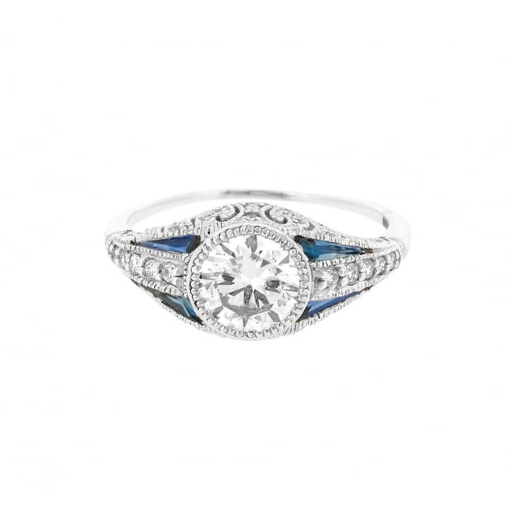Art Deco Style Diamond and Sapphire Solitaire Ring