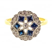 Art Deco Style Ring with fancy Cut Sapphires and Diamonds