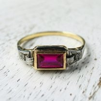 Art Deco Synthetic Ruby Ring
