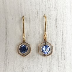 Art Deco Yellow Gold and Sapphire Hexagonal Earrings