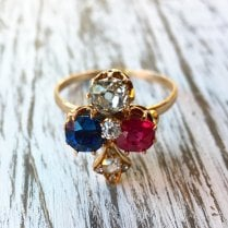 Art Nouveau Multi-Gem Clover Ring