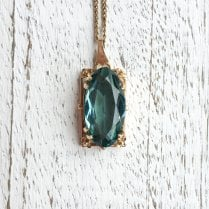 Art Nouveau Teal Paste Necklace
