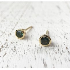 AustralianTealy Sapphires and Fairtrade Gold Stud Earrings