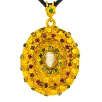 Austro-Hungarian Gem-Set Oval Locket