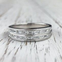 Baguette Diamond Double Half Eternity Ring