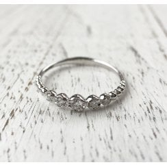 Beaded Diamond eternity Ring in white Gold