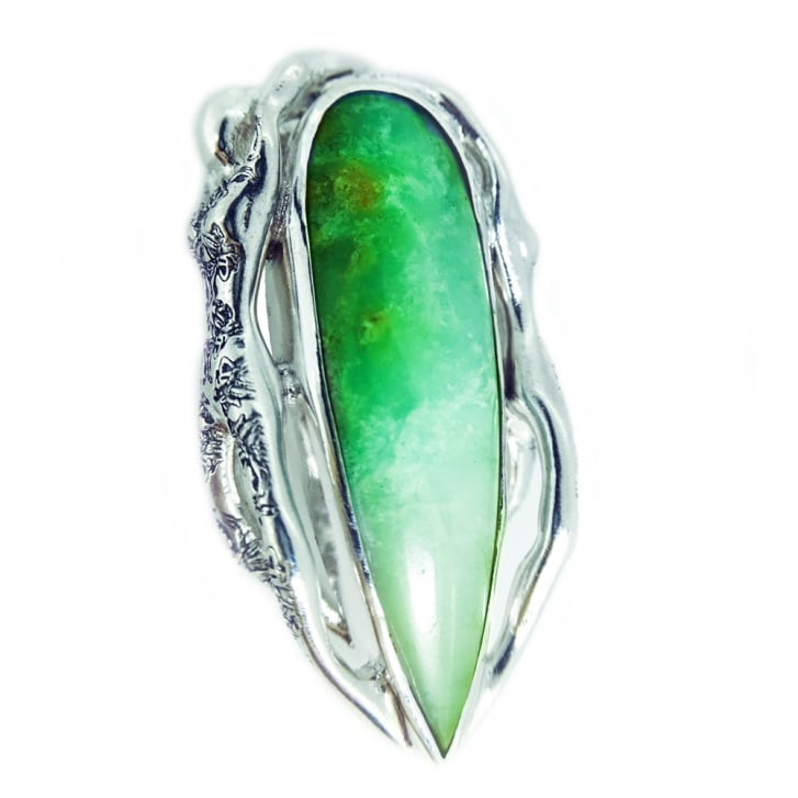 Becky Dockree Beautiful Silver People Pendant With Chrysoprase