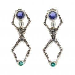 Apatite and Iolite Little People Earrings