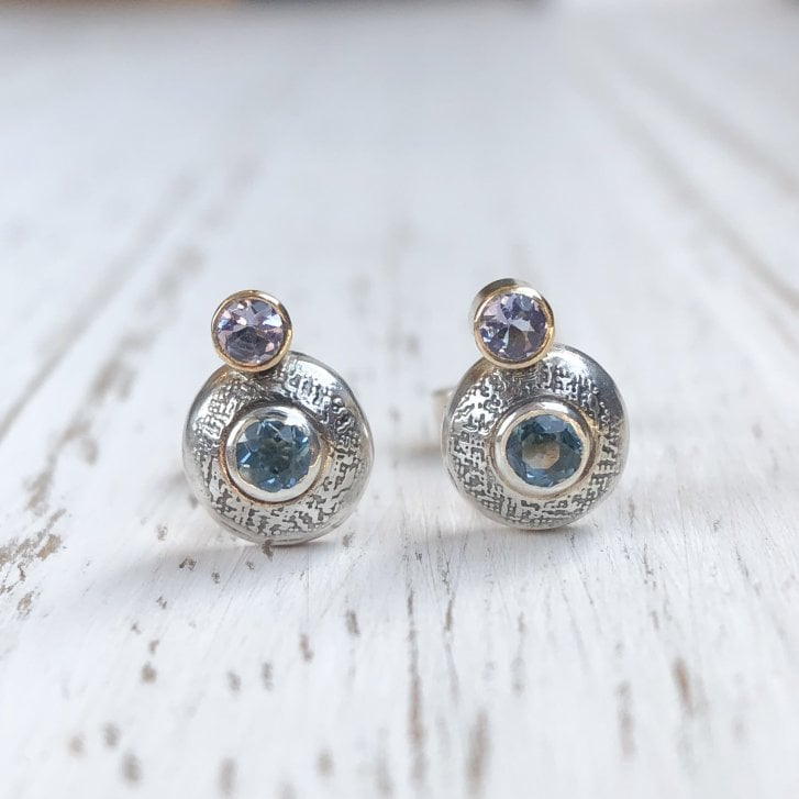Becky Dockree Blue Topaz and Iolite Etched Silver Dome Studs