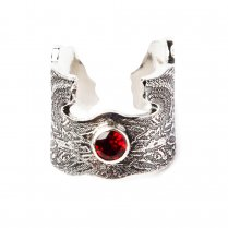 Garnet Set Angel Wings Silver Ring