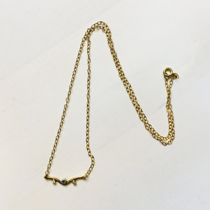 Becky Dockree Gold Plated Mini Curve Necklace